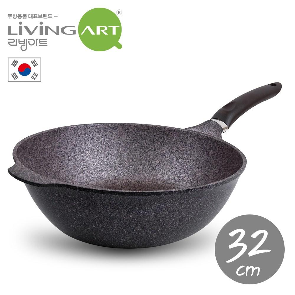 韓國【LIVING ART】超硬鑄造Inoble不沾炒鍋-32cm
