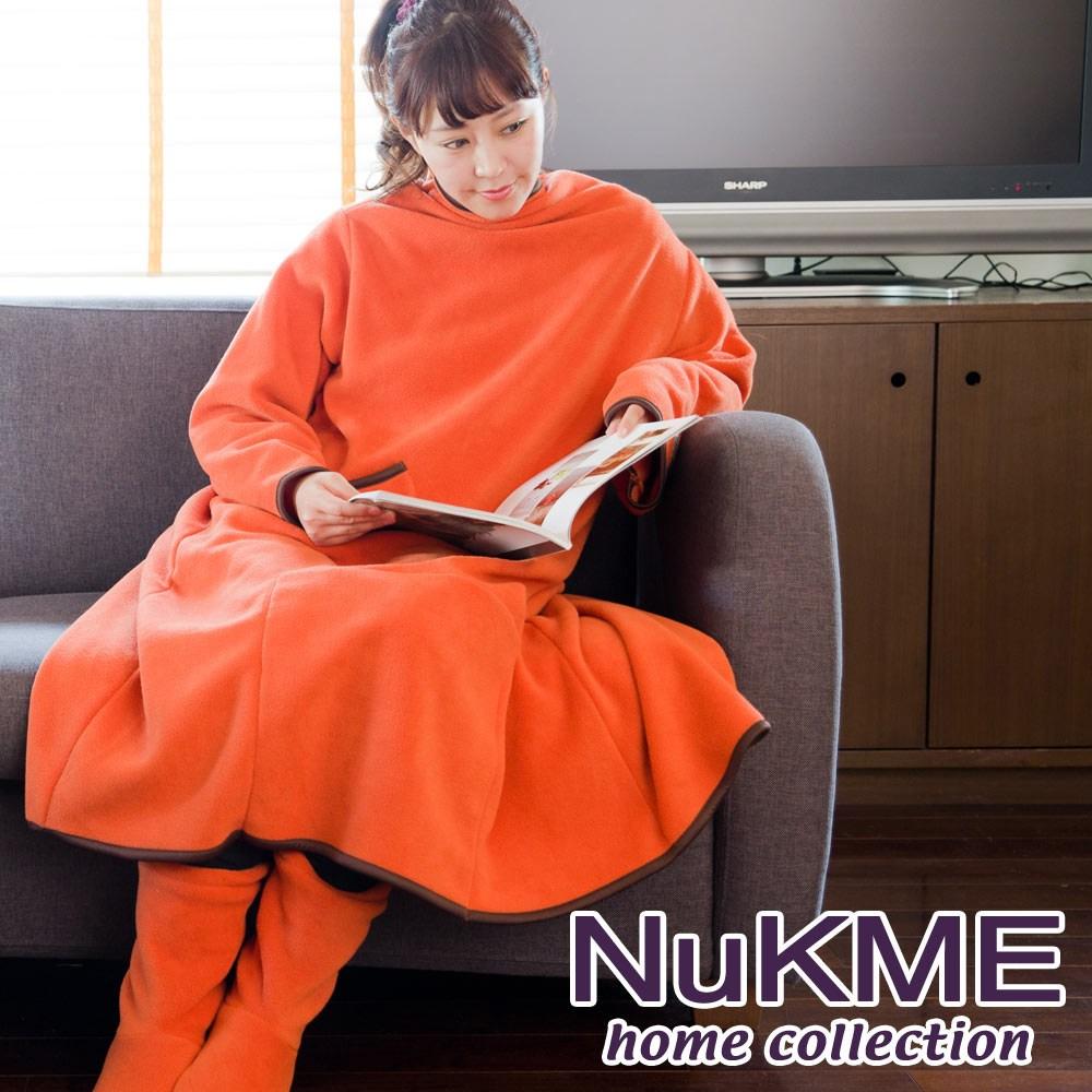 棉花田【NuKME】時尚多功能創意袖毯M-2色可選(125cm)夕陽橙