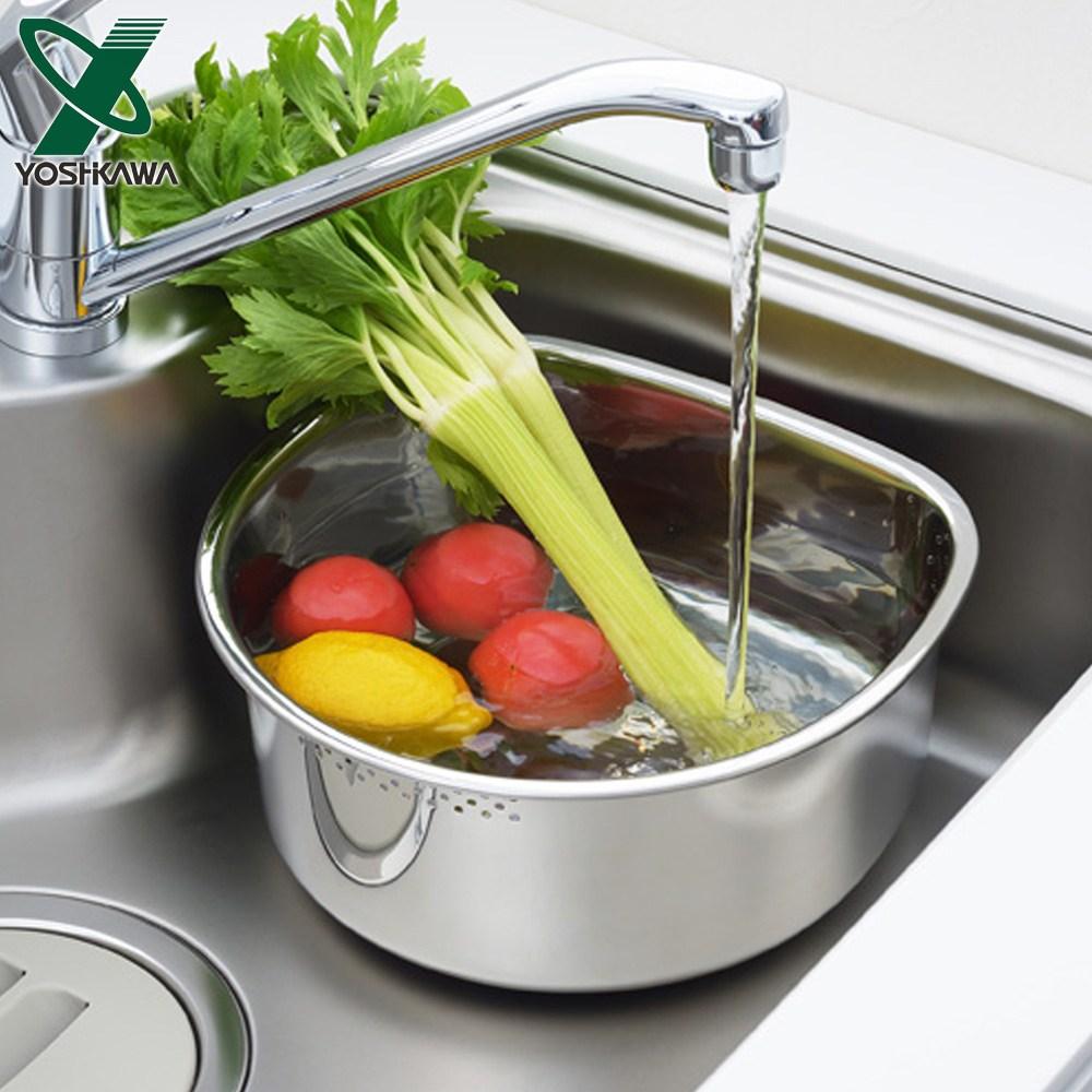 【YOSHIKAWA】日本進口不鏽鋼D型洗米/洗菜盆