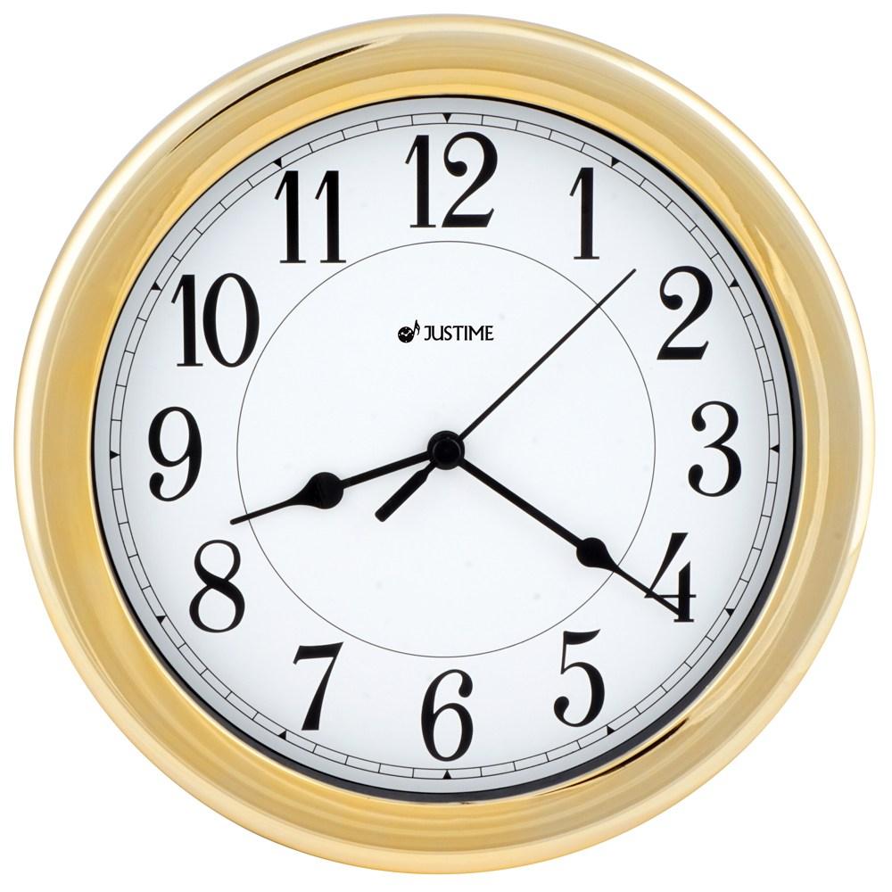 【鐘情坊 JUSTIME8.5吋設計百搭款防塵防水掛鐘-電鍍金(台製)白底黑字-電鍍金