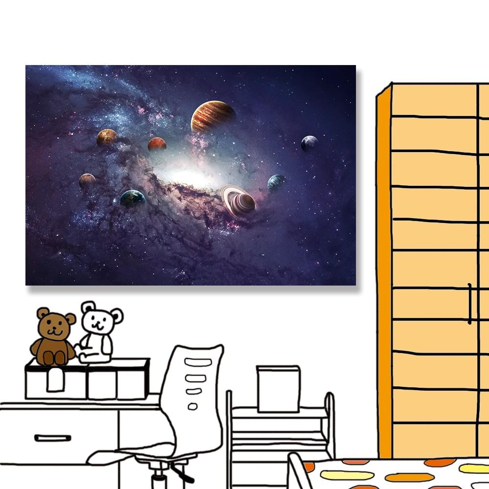 【24mama 掛畫】單聯式 油畫布 無框畫60x40cm-太陽系行星油畫布無時鐘