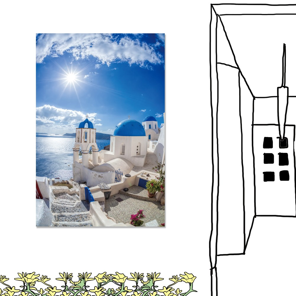 【24mama 掛畫】單聯式 油畫布 無框畫 40x60cm-伊亞鎮油畫布無時鐘
