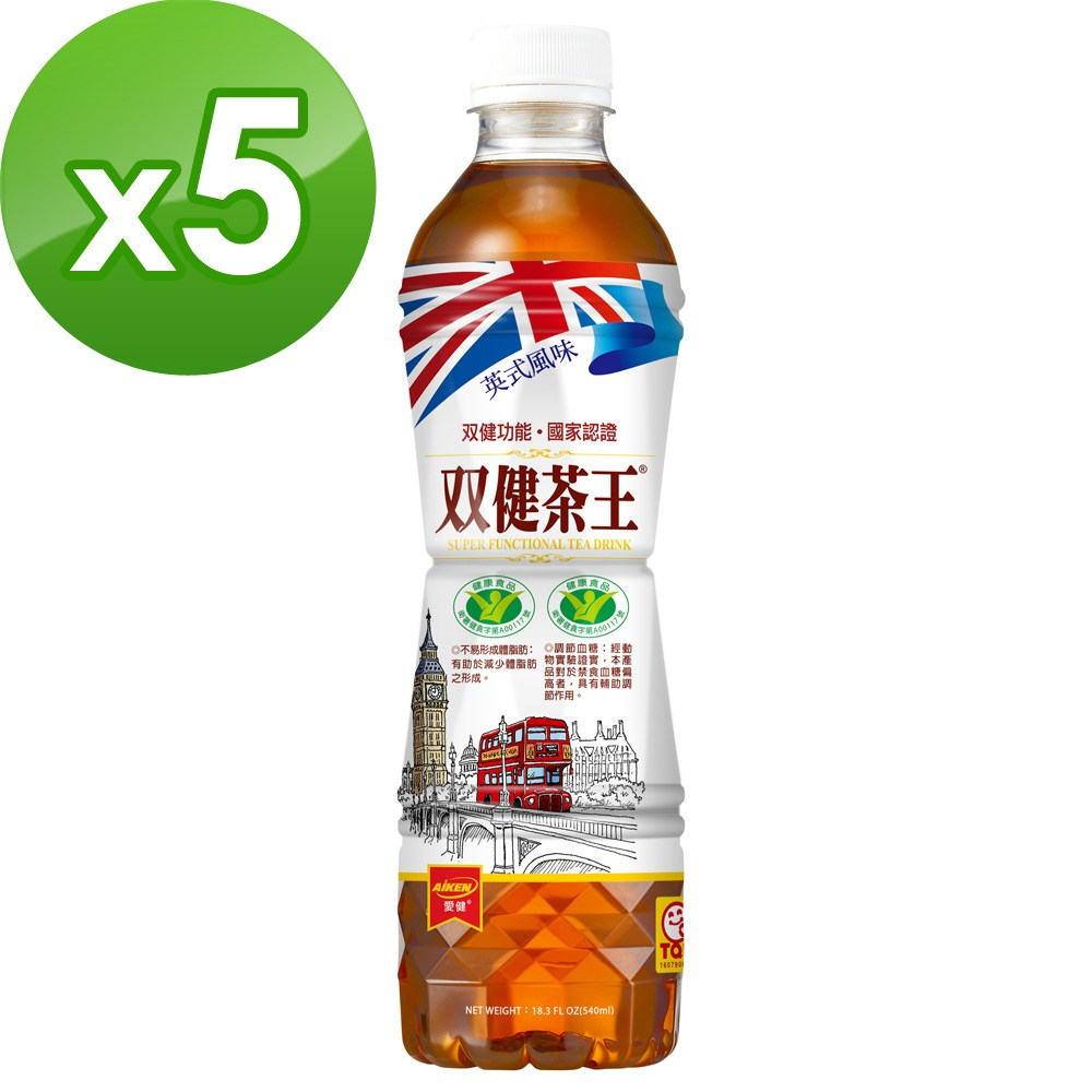 愛之味 双健茶王蜜香烏龍540ml(24瓶/箱)*5箱組-雙健字號認證