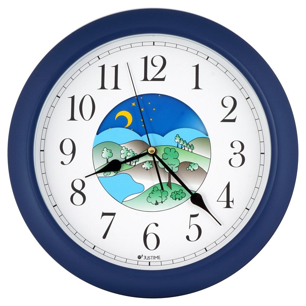 【JUSTIME 鐘情坊】14吋機械專業日夜24小時 白天黑夜轉盤移動日夜轉盤鐘面深藍色