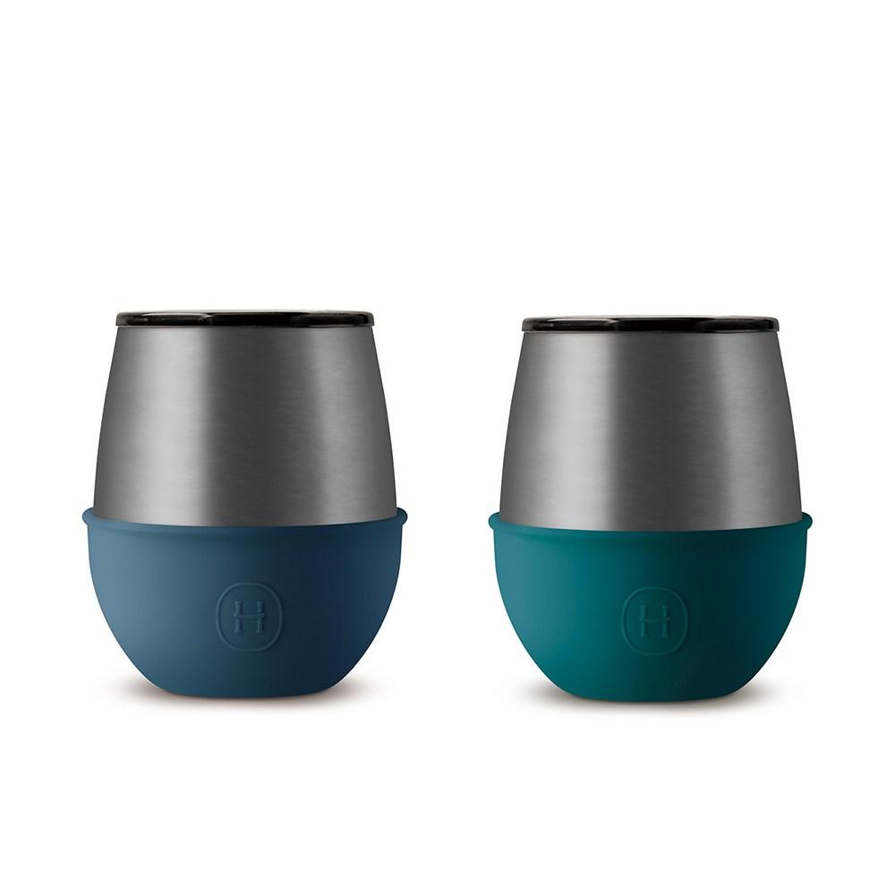 【HYDY】優雅蛋型杯 孔雀綠+海軍藍 -鈦灰(二入組)