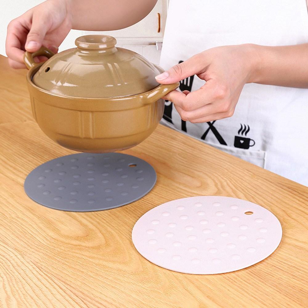 PUSH!廚房用品圓形加厚矽膠隔熱墊防燙墊(素雅杏3入)D144素雅杏3入