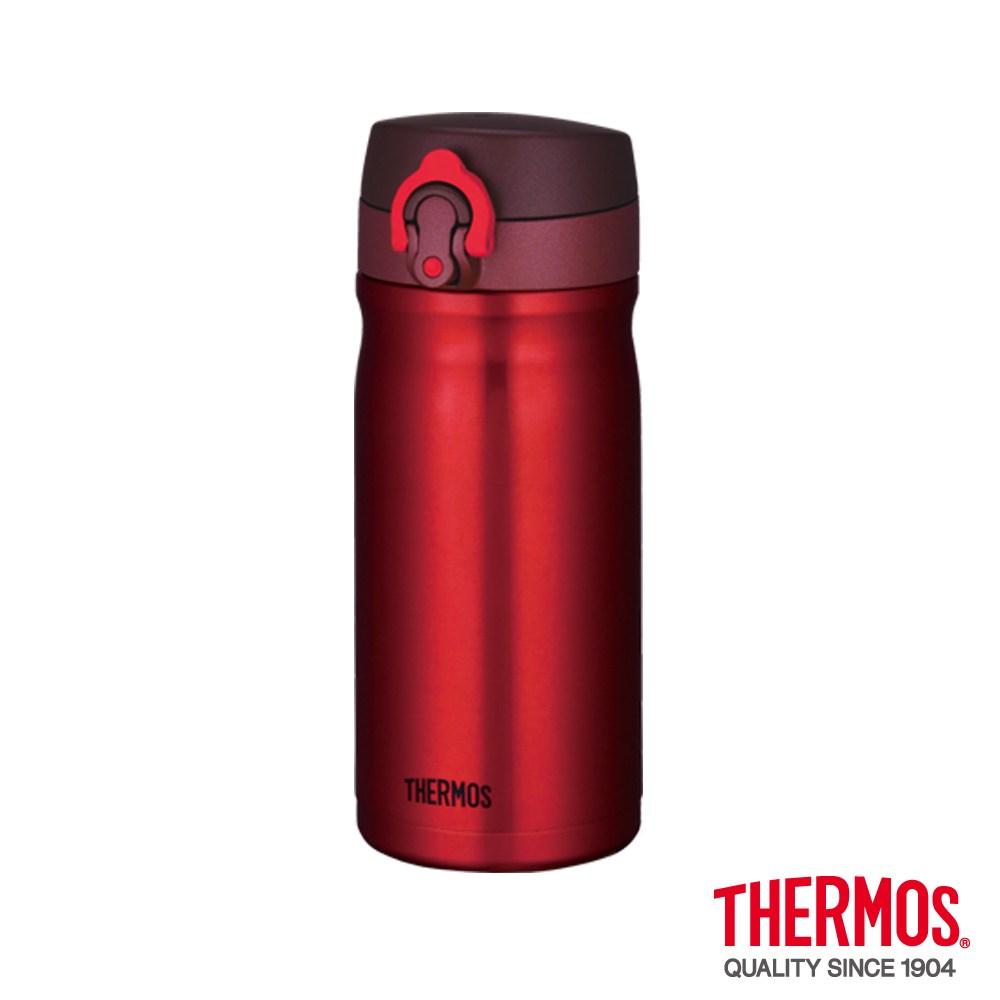 【THERMOS膳魔師】彈蓋不鏽鋼真空保溫瓶0.35L(JMY-350紅色