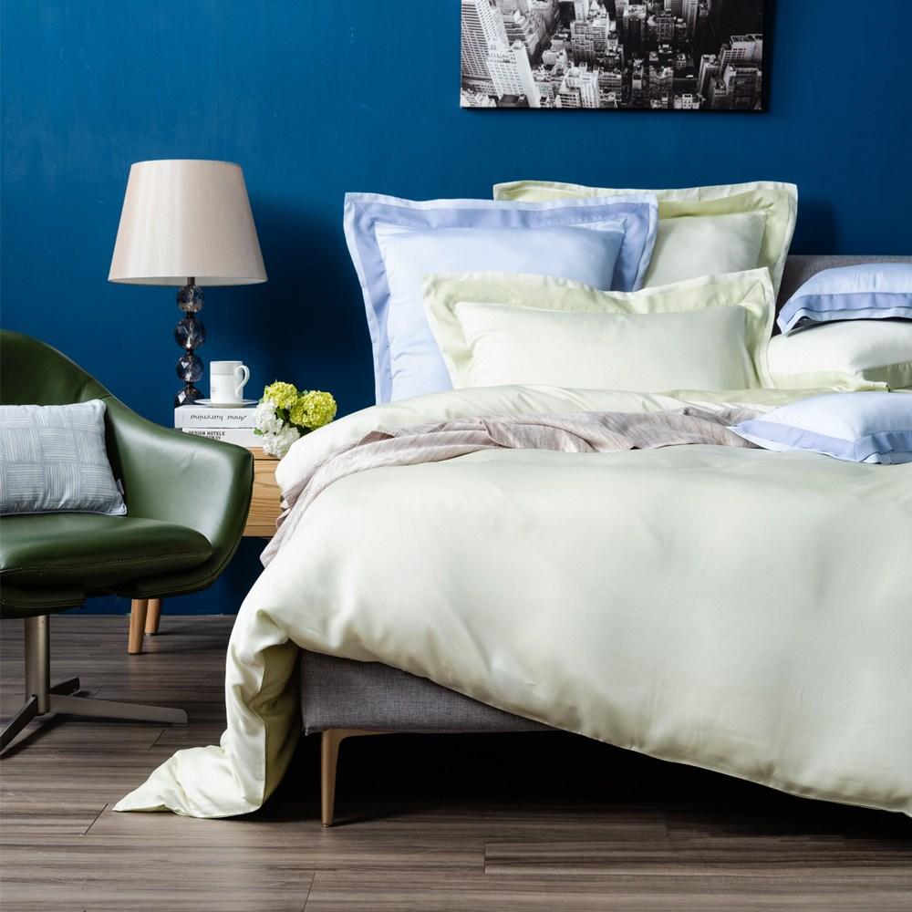 (組)雅緻天絲素色加大床被組輕碧