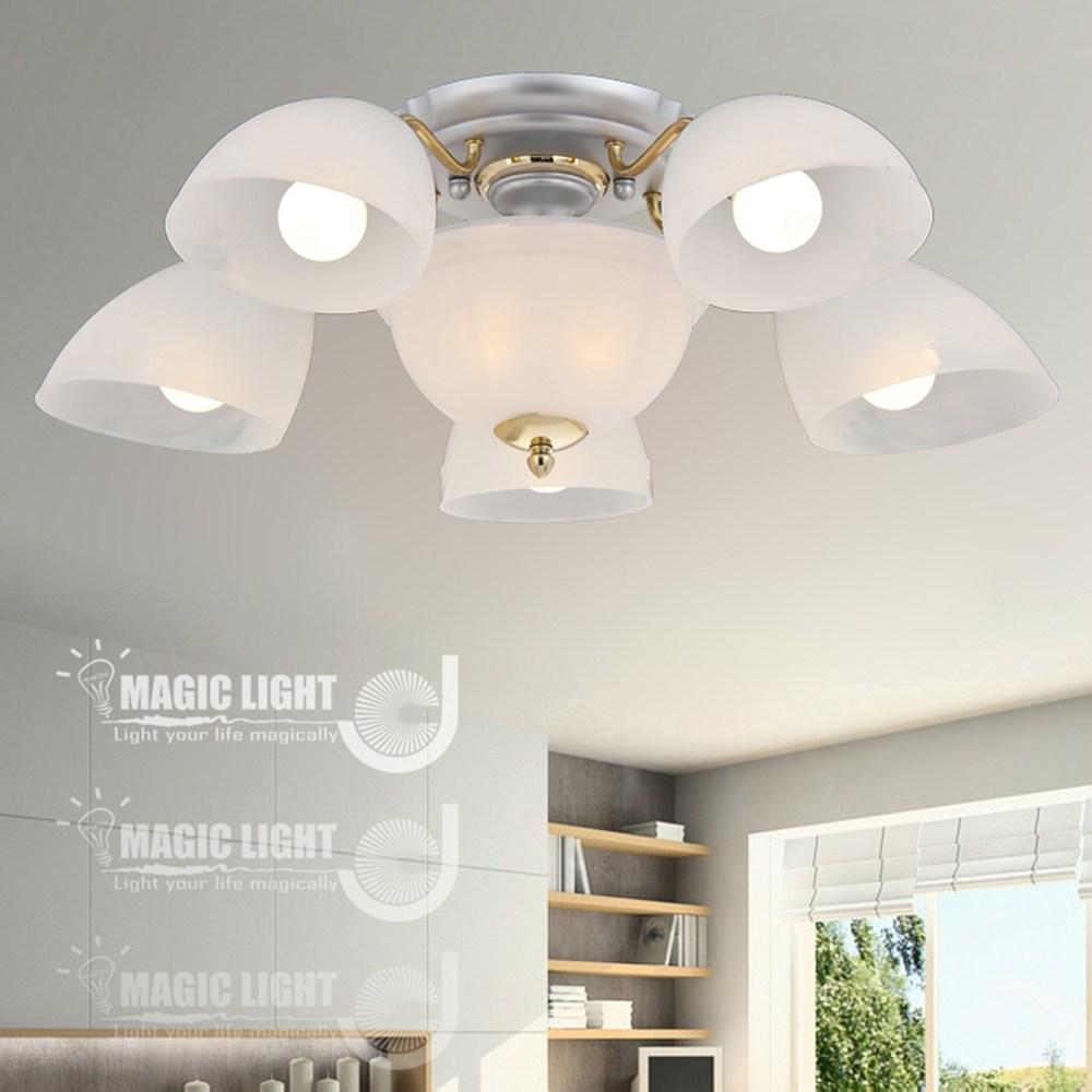 【光的魔法師 Magic Light】沙銀牛角 半吸頂五燈