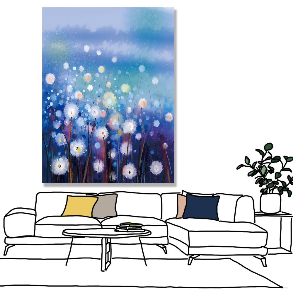 【24mama掛畫】單聯式油畫布無框畫30x40cm-蒲公英花園02油畫布無時鐘