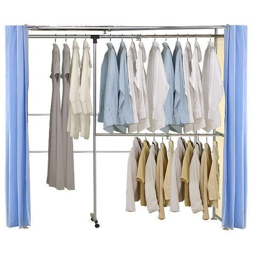 巴塞隆納─AH-19伸縮衣櫥 前布簾水藍色不織布