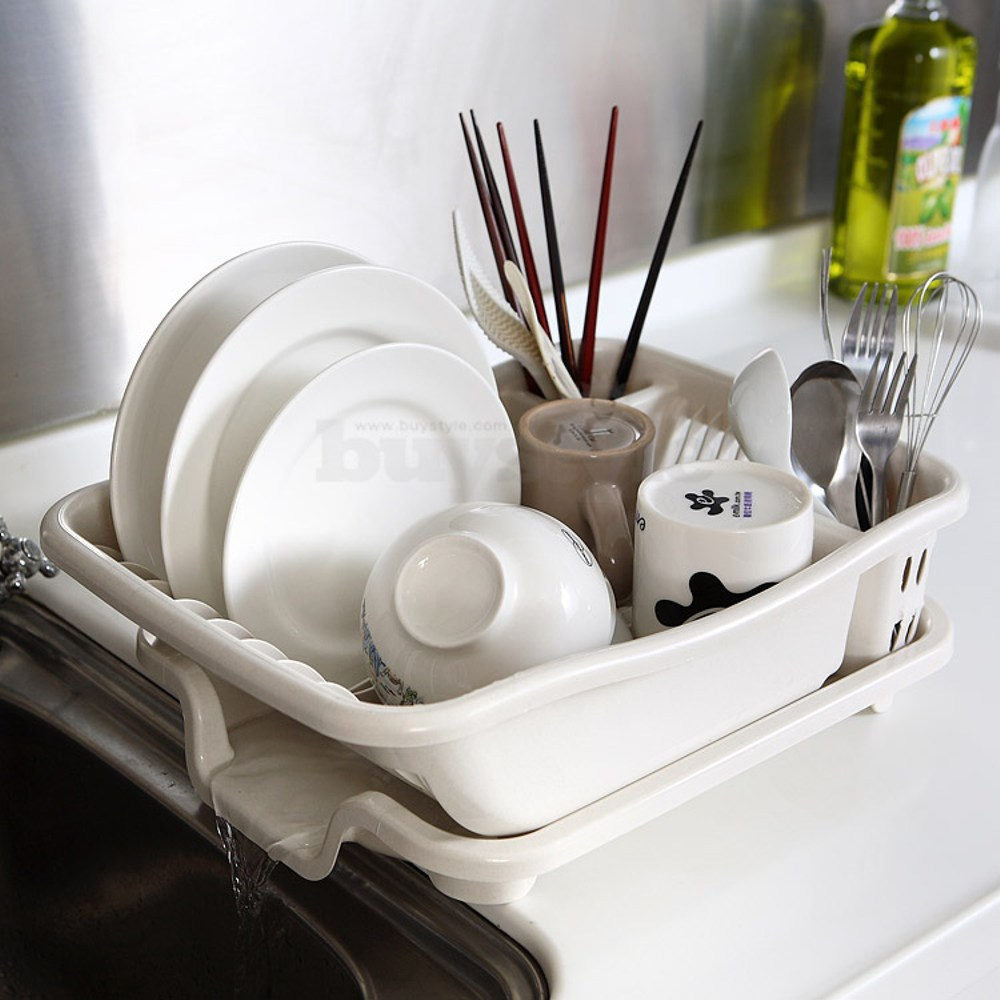 【生活采家】排水式碗盤收納瀝水架#16172