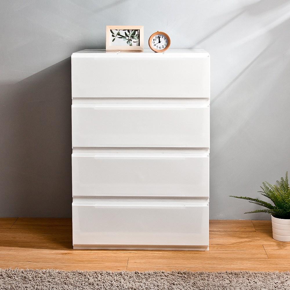 【HOUSE】5號大寬栗子純白無印風一層抽屜式收納盒-4入【台灣製造】5號大寬栗子(4入)