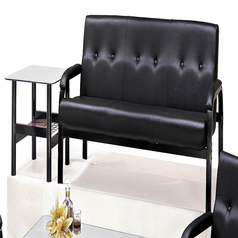 溫莎黑色鋼管三人椅