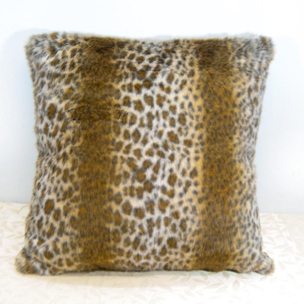 【LASSLEY】55cm靠枕-黃金豹紋長纖毛絨(抱枕 靠背 豹紋)