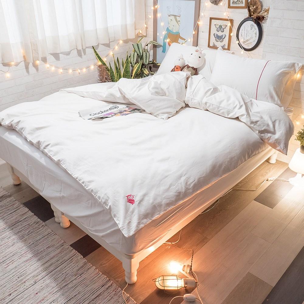 Life素色系列- 天使白  100%精梳棉(60支) 床包兩用被組/單人