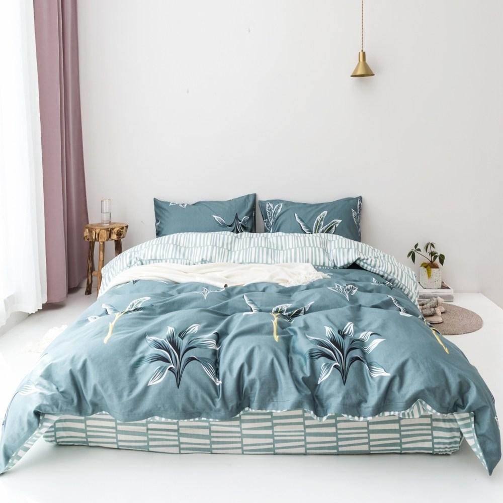 【eyah】台灣製200織精梳棉雙人床包被套四件組-綠草如茵山坡