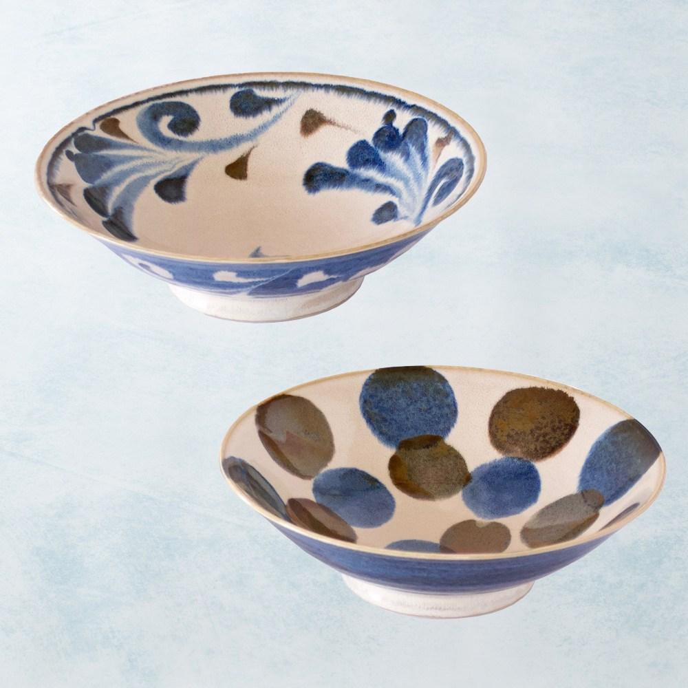 【有種創意】日本美濃燒 - 筆青釉繪寬口大碗組(2件式)