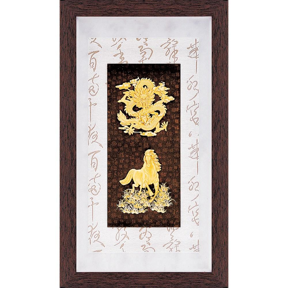 金箔畫 黃金畫純金彩金系列~【龍馬精神】....48 x 82 cm外徑 48 x 82