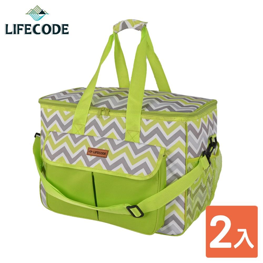 【LIFECODE】香頌野餐保冰袋/保溫袋-綠色(2入)