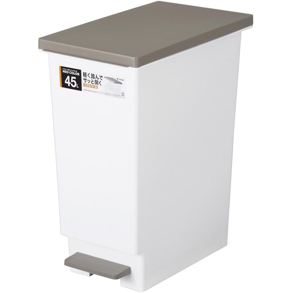 【日本 TONBO】NEO系列踩踏式分類垃圾桶45L-棕色
