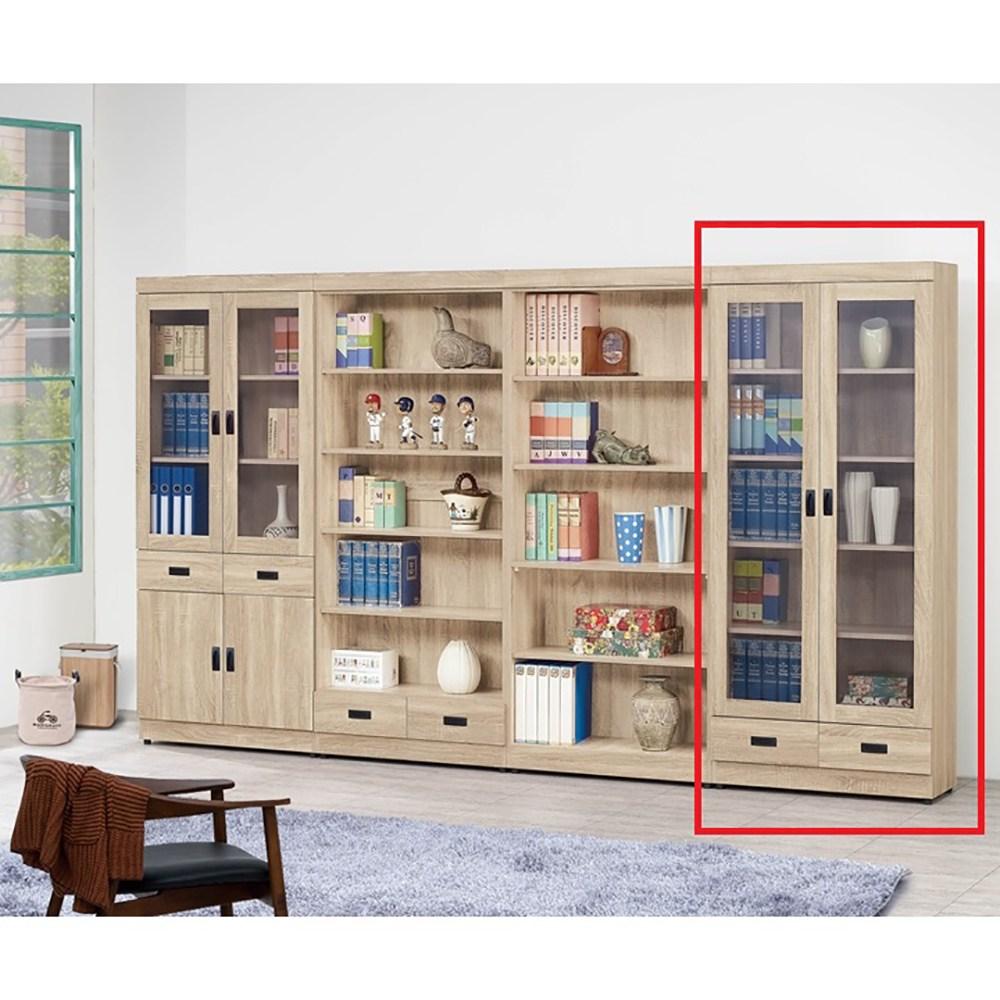 法蘭克原切橡木2.6尺下抽書櫥