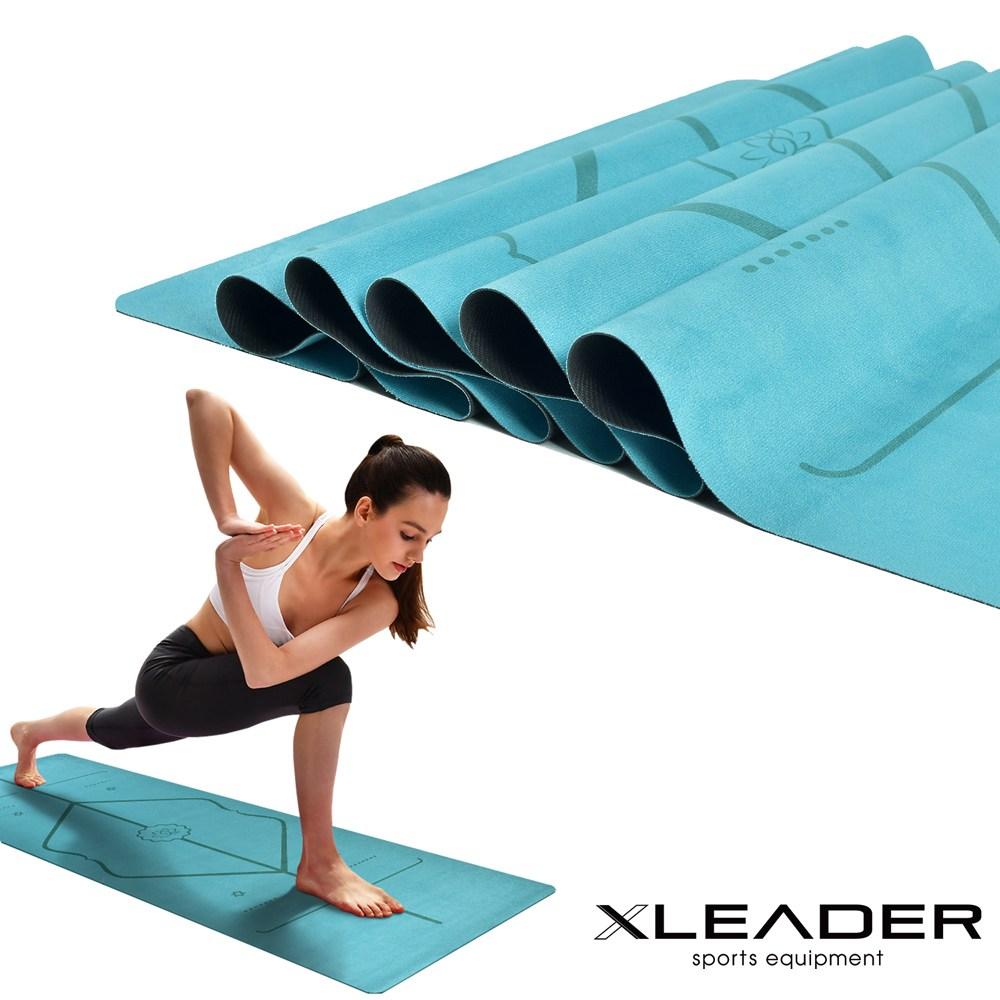 Leader X 加寬 防滑天然橡膠正位線麂皮絨瑜珈墊 1mm 湖水藍