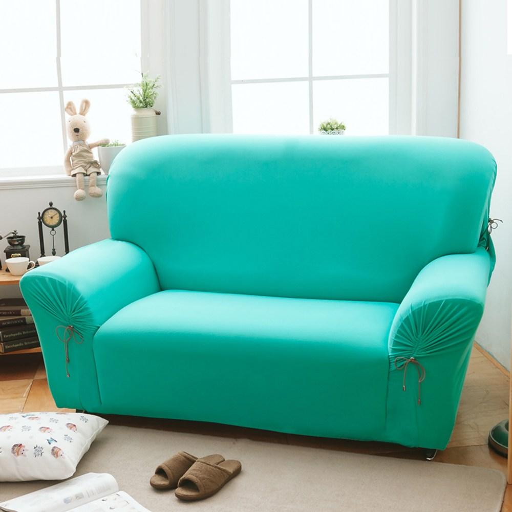 【格藍傢飾】繽紛樂彈性沙發套-湖水藍1+2+3人