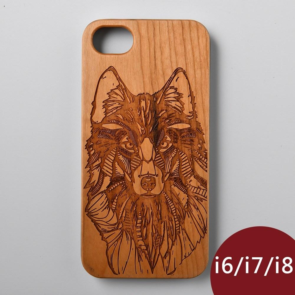 Woodu 木製手機殼 冰原狼 iPhone i6 i7 i8適用