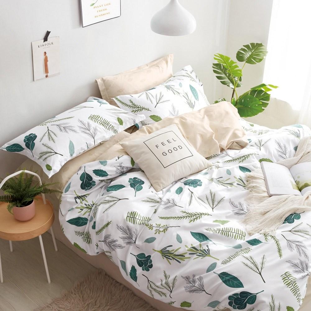 【eyah】台灣製200織紗天然純棉雙人床包新式兩用被五件組-樹葉奔舞