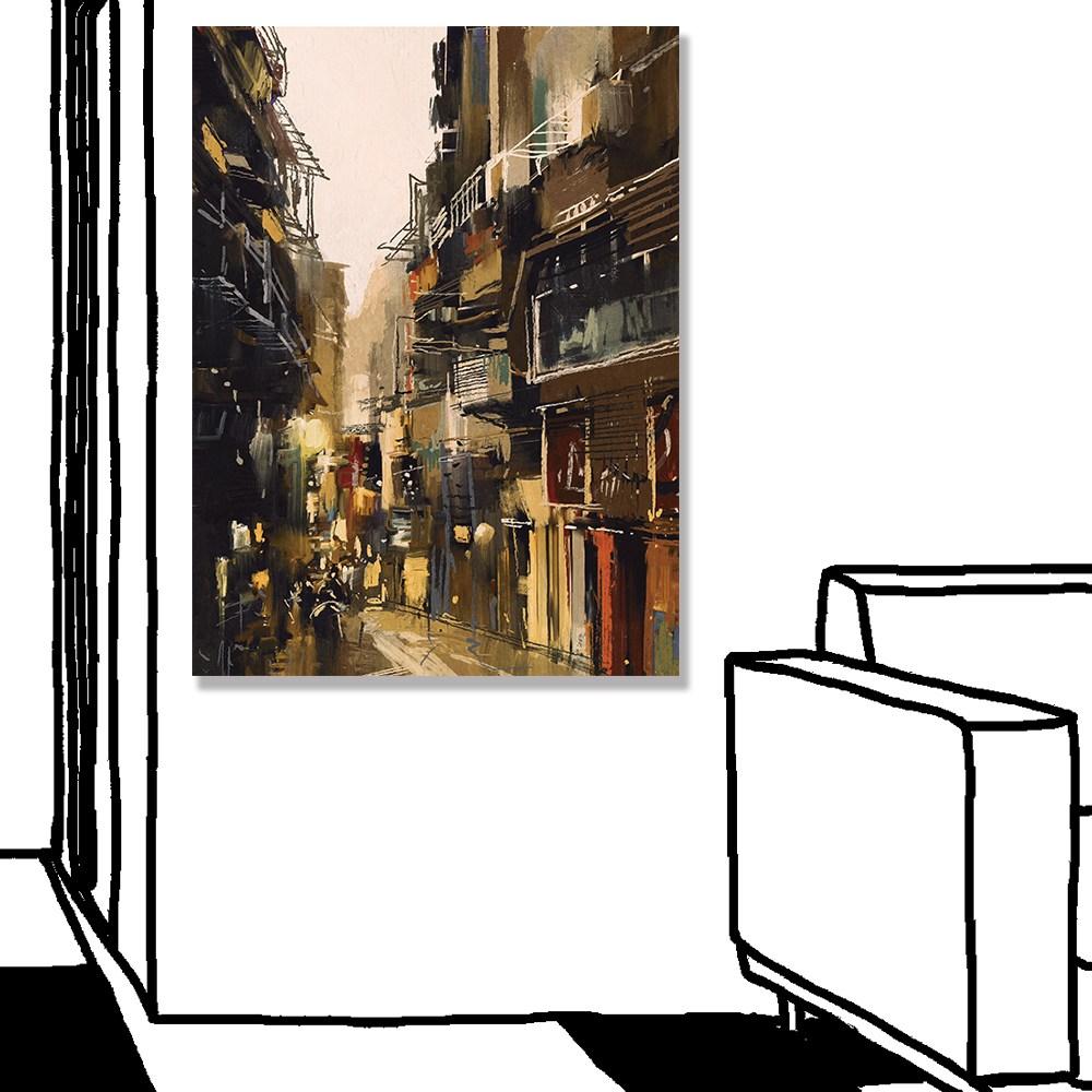 【24mama掛畫】單聯式油畫布無框畫30x40cm-城市景觀畫油畫布無時鐘