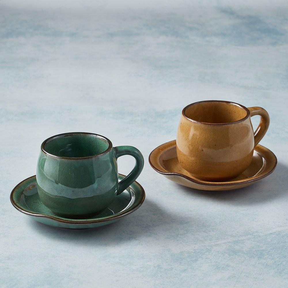 【有種創意】日本美濃燒 - 圓口咖啡杯碟 - 對杯組(4件式)