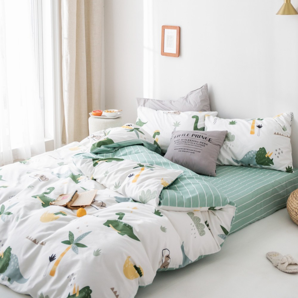 【eyah】台灣製200織精梳棉雙人床包新式兩用被五件組-史前樂園