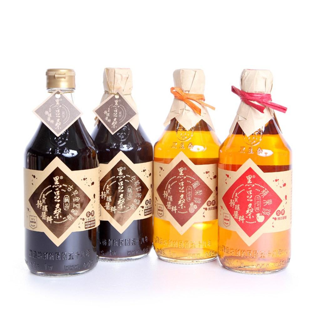 【黑豆桑】和風清爽組(金豆醬油1+缸底醬油1+蘋果淳1+鳳梨淳1)