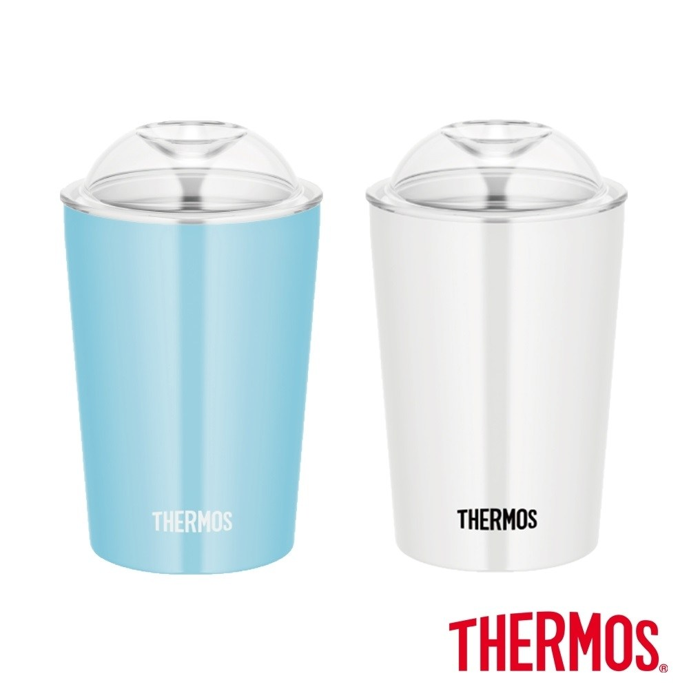 買一送一【THERMOS 膳魔師】不鏽鋼真空杯0.3L(JDJ-300)淺藍色+白色