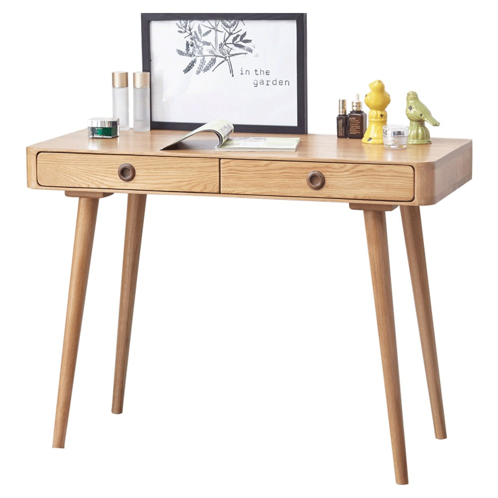 原木日式和風白橡木實木兩抽書桌w7055-原木色