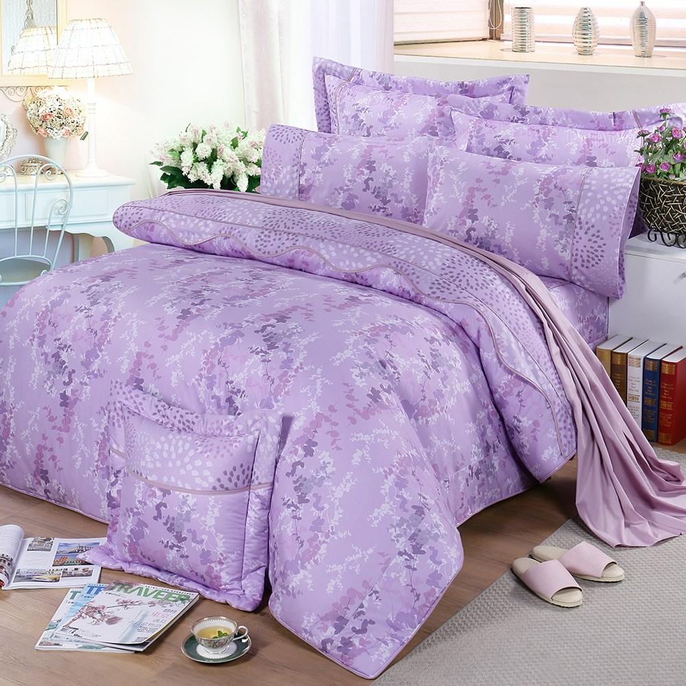 【FITNESS】精梳純棉加大七件式床罩組-律彌爾(紫)