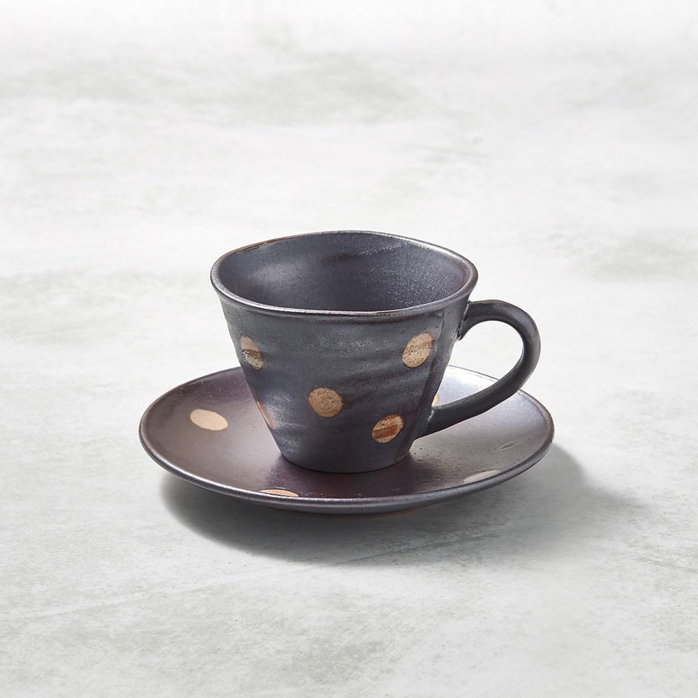 【有種創意】日本美濃燒 - 寬口咖啡杯碟組 - 紫羊羹白玉