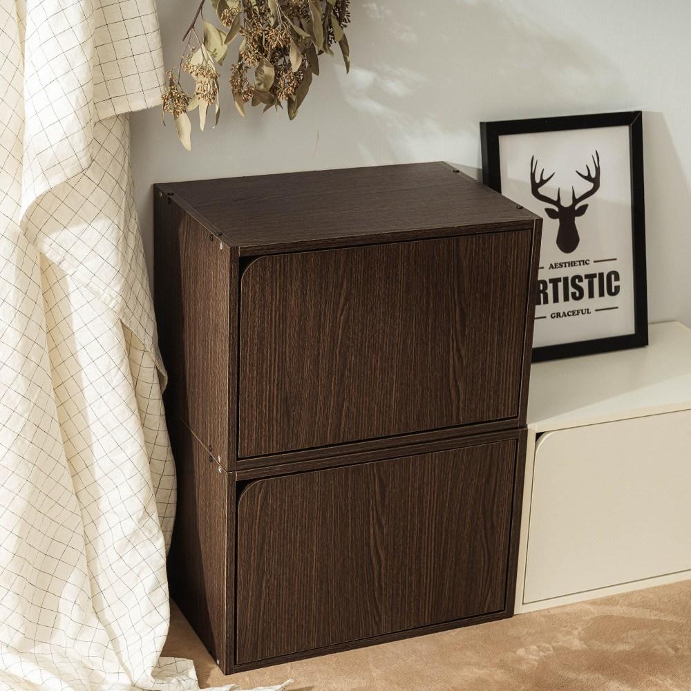 樂嫚妮 收納櫃 木門櫃-附門-深胡桃木色-2入組