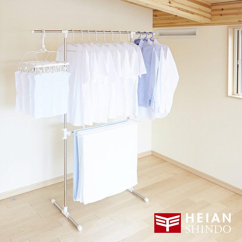 日本【平安伸銅 】免工具T型不銹鋼伸縮桿室內曬衣/被架 MC-50