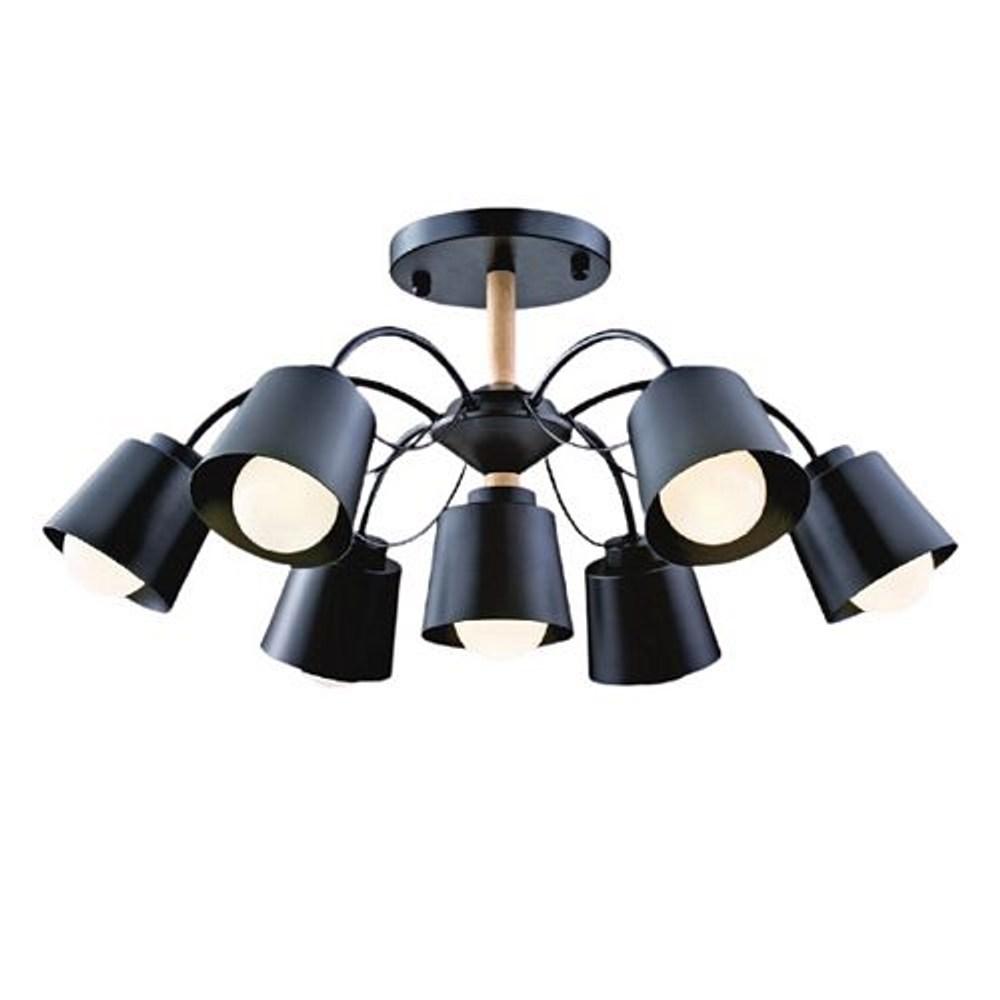 【YPHOME】工業風半吸頂6+1燈 簡易更換燈泡 附電子開關 可分段