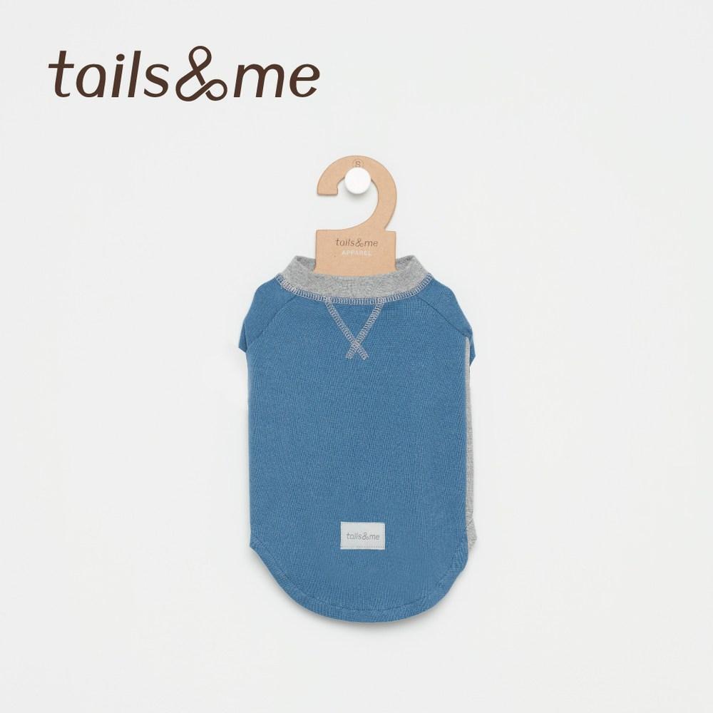 Tails&Me 尾巴與我-無袖撞色磨毛上衣(L)藍