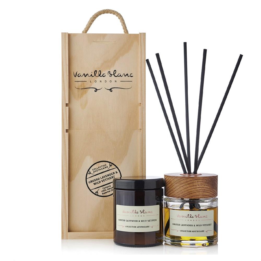 VANILLA BLANC 木製香氛組(擴香+蠟燭)薰衣草&香根草270ml