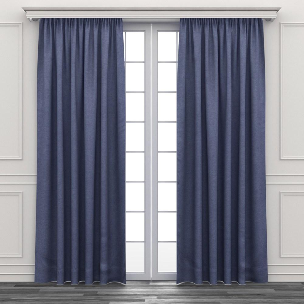 HOLA 素色三明治遮光落地窗簾 270x230cm 灰藍