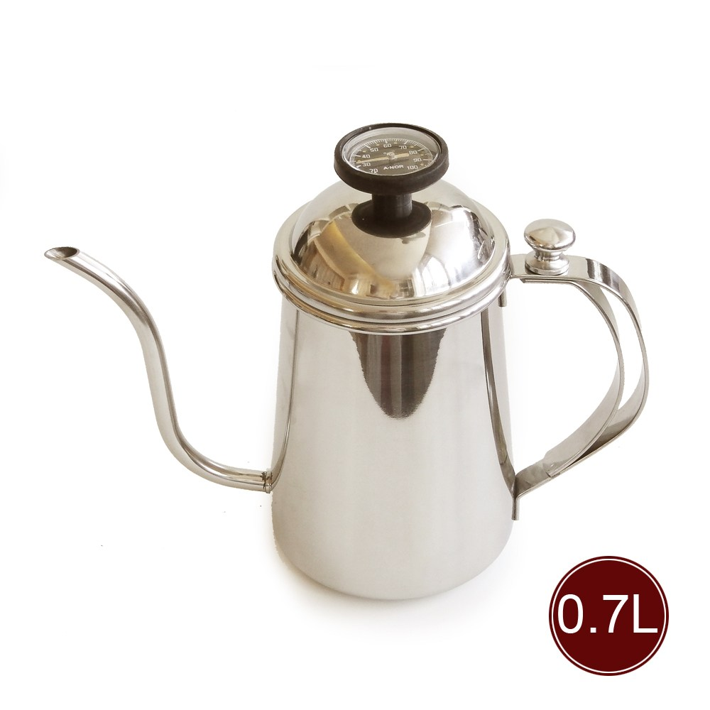 Anor 304不鏽鋼測溫手沖細口壺(0.7L)