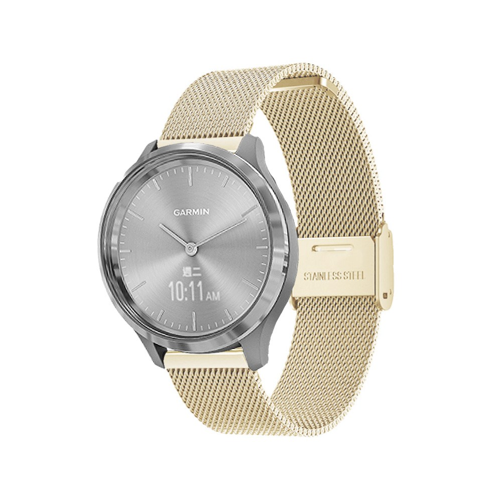 Garmin vivomove 3S 18mm米蘭式卡扣錶帶 復古金