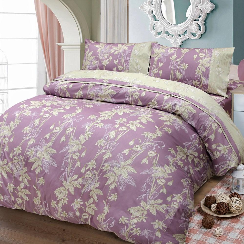 【FITNESS】精梳棉雙人四件式被套床包組--緲緲煙花(紫)5*6.2