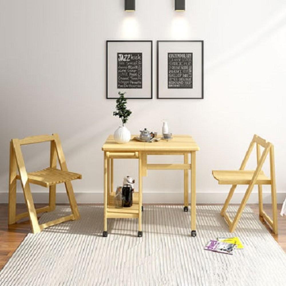 實木單邊折疊收納餐桌1桌2椅組 原木色