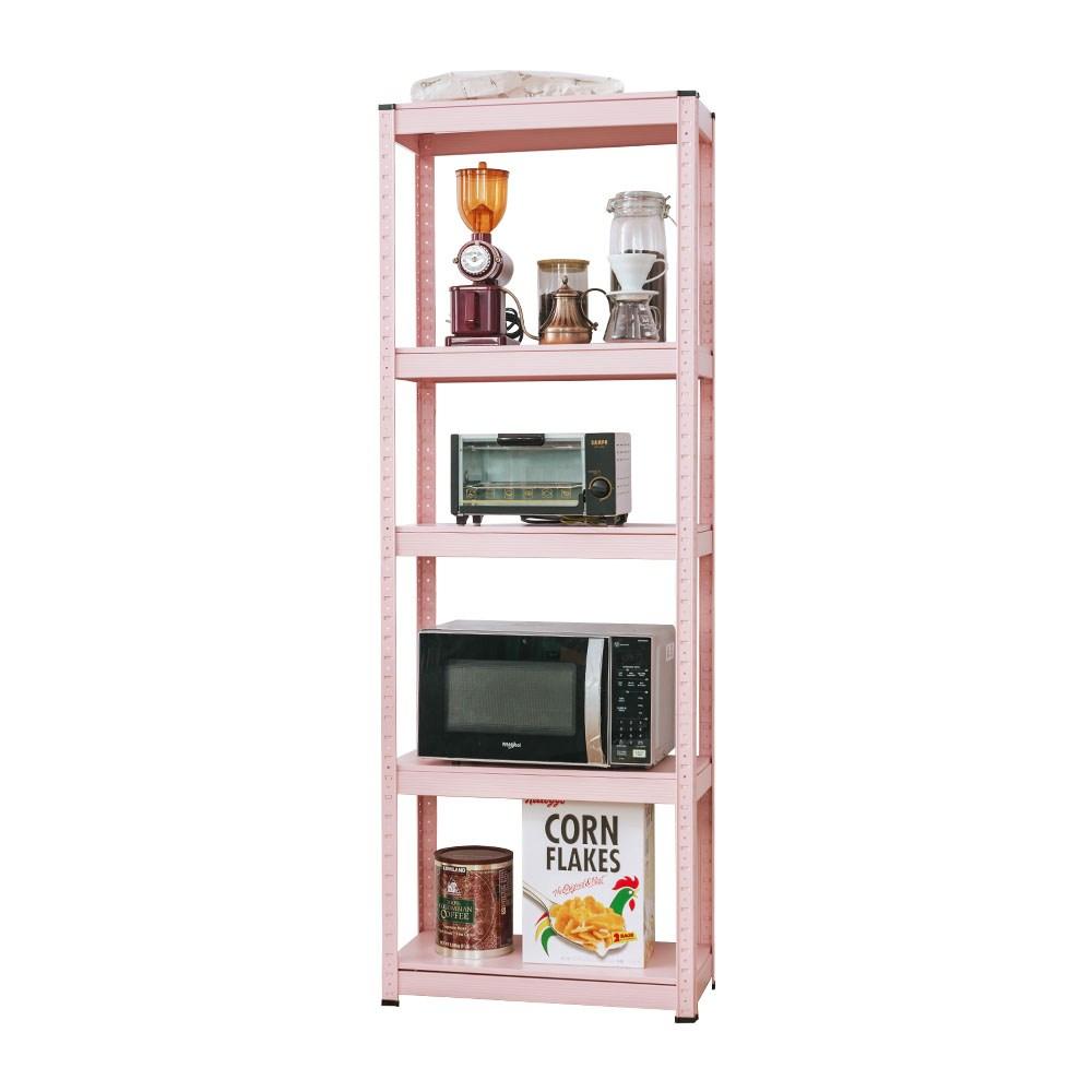 樂嫚妮 落地五層角鋼架收納置物架-60X30X171cm-4色Baby粉