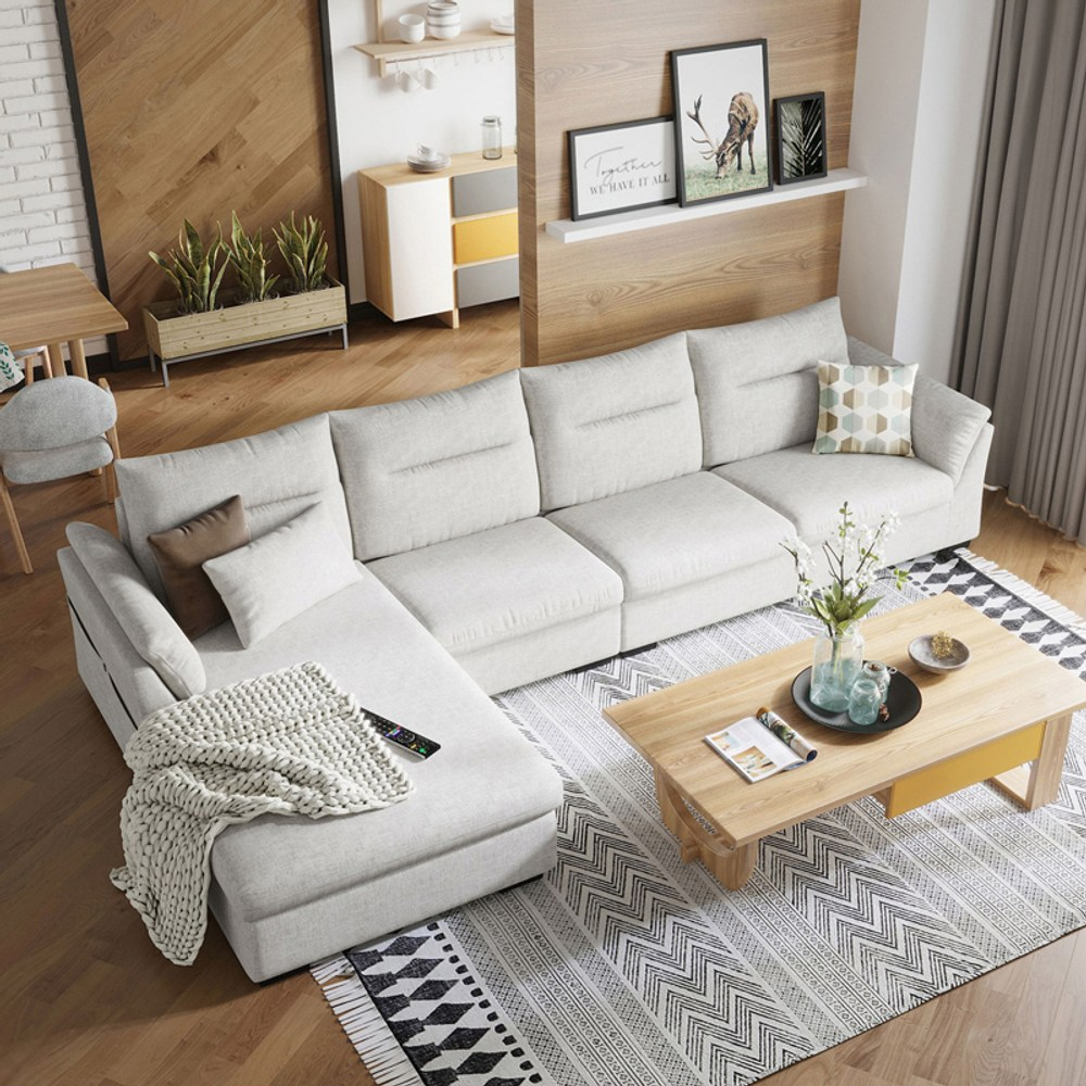 林氏木業簡約現代側邊儲物右L四人布沙發(附抱枕)S016-米白色